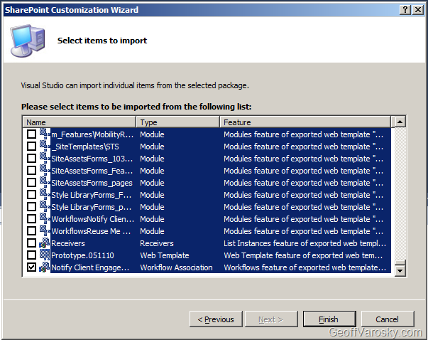importing lists and content types into visual studio 2010 from site templates for packaging in