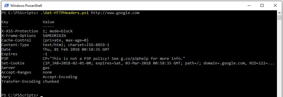 PowerShell Script to Get HTTP Headers | Geoff Varosky's Blog